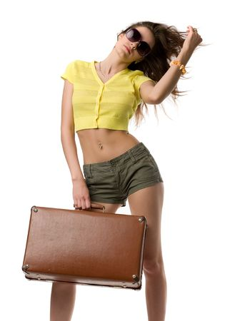 happy woman with suitcase and in sunglasses isolated on white Stock Photo - 4767506