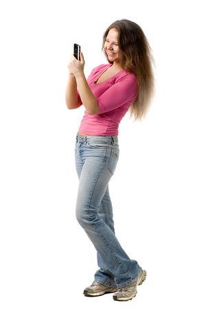 personal digital assistant: beautiful  girl looks at personal digital assistant, isolated on white