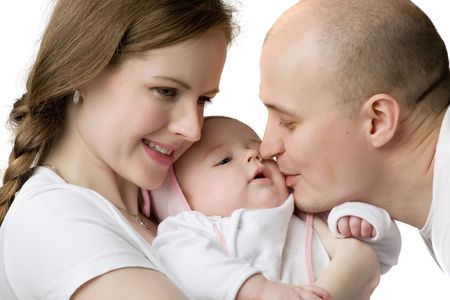 Happy smiling parents with baby, isolated on white Stock Photo - 5609345