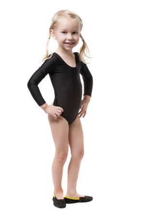 little blonde girl in bodysuit for rhythmic gymnastics isolated on white photo