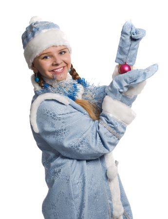 Snow girl with christmas-tree decoration, isolated on white Stock Photo - 6009282