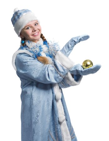 Snow girl with christmas-tree decoration, isolated on white photo