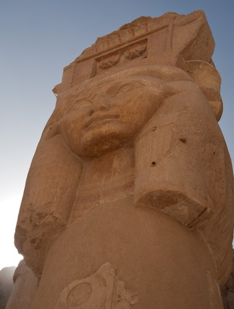 column in Hatshepsut Temple with woman head bas-relief, Egypt, Luxor photo