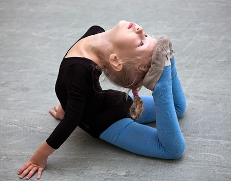 little gymnast girl on training in gym Stock Photo - 7916347