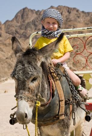 bedouin: little girl in bedouin kerchief riding on a grey donkey