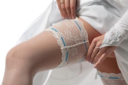 closeup leg of woman in white beautiful stocking photo