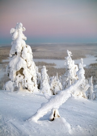 frozen landscape of mountain ski resort, Ruka, Finland photo