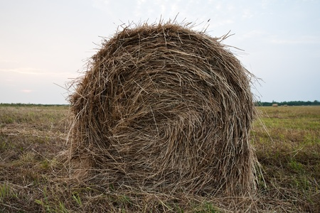 rick: hay stack closeup on the meadow and sky background