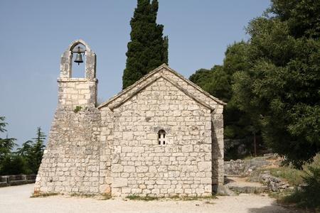croatian: old Croatian church in town of Split Stock Photo