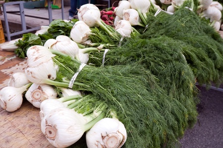 sicilian: closeup of fresh fennel at green market Stock Photo