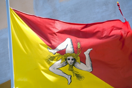 flag of Sicily with triskelion three-legged symbol