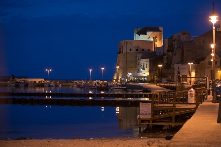 castellammare del golfo: evening view of old medieval fortress and harbour of Castellammare del Golfo town, Sicily, Italy