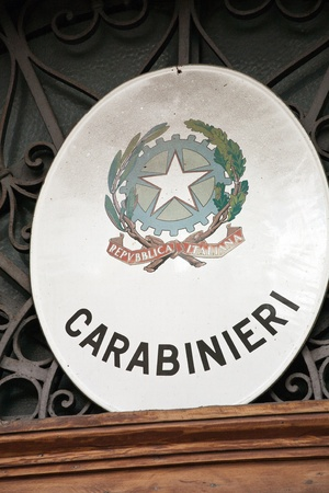 carabineer: Italian Carabinieri Emblem with special notice and heraldic arms Editorial