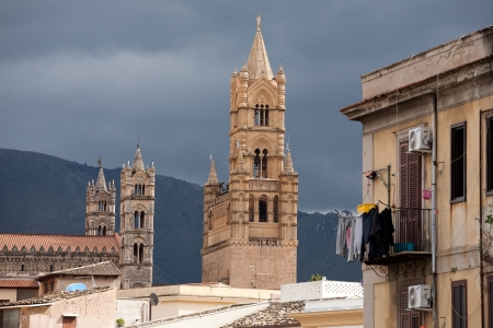cattedrale: view of Palermo with houses and old tracery towers of Cathedral, Sicily, Italy
