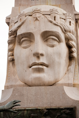 castellammare del golfo: monument, symbol of Mother-Sicily: head of beautiful woman with crown of fortress, Castellammare del Golfo town, Sicily, Italy Stock Photo