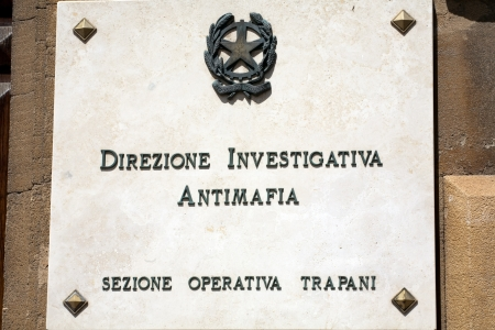 antimafia department signboard of Trapani police, Italy, Sicily