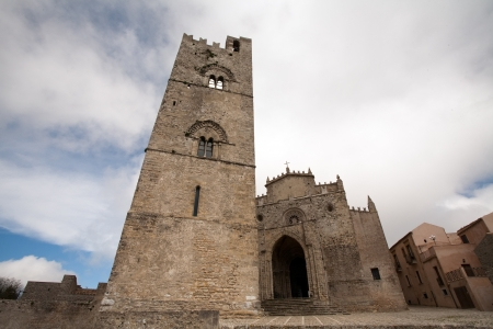 mediaeval: main old Chiesa Madre church of Erice town, Sicily, Italy