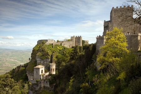 trapani: panoramic view of three ancient fortresses of Erice town, Sicily, Italy