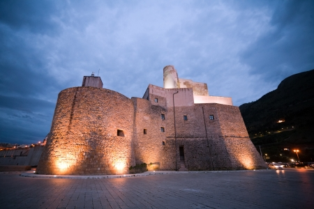 castellammare del golfo: evening view of old medieval fortress of Castellammare del Golfo town, Sicily, Italy