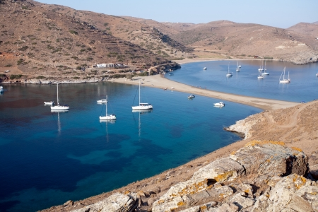 isthmus: top view of scenic Greek bays with white yachts Stock Photo