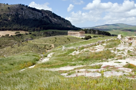 summer landscape with ancient Greek temple of Venus, Segesta village, Sicily, Italy Stock Photo - 16662933