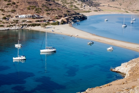 isthmus: top view of scenic Greek sea bays with white yachts Stock Photo