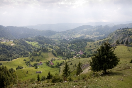 summer mountain beautiful rural landscape of Romanian Carpathians photo