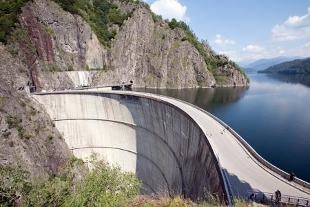 transfagarasan: road over the big dam on Transfagarasan mountain route, Romania Stock Photo