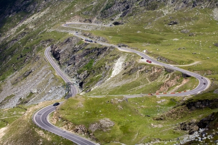 scenic top view of mountain serpentine road, Transfagarasan highway, Romania photo
