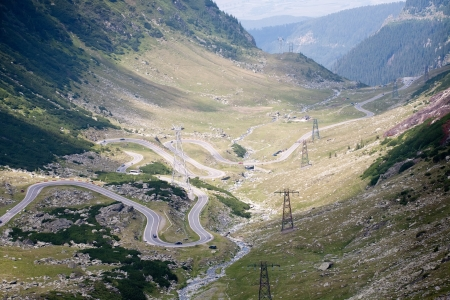 Transfagarasan Romanian highway: scenic mountain serpentine road photo