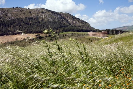 calatafimi: summer landscape with ancient Roman temple of Venus, Segesta village, Sicily, Italy Stock Photo