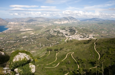 aerial view of scenic green valley, Erice town, Sicily, Italy photo