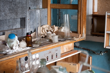 dirty room: old deserted laboratory with garbage and the rest of equipment