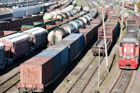 waggon: industrial view with lot of freight railway trains waggons Stock Photo