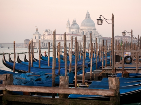 row of gondolas closeup and Salute church on blurry morning background photo