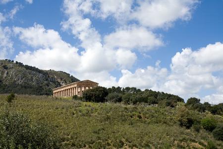 calatafimi: summer landscape with ancient Greek temple of Venus, Segesta village, Sicily, Italy