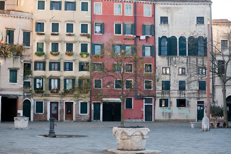 jewish quarter: town square and well in Jewish ghetto of Venice