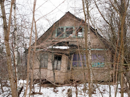 dacha: old abandoned rural wooden house in Russian village Stock Photo