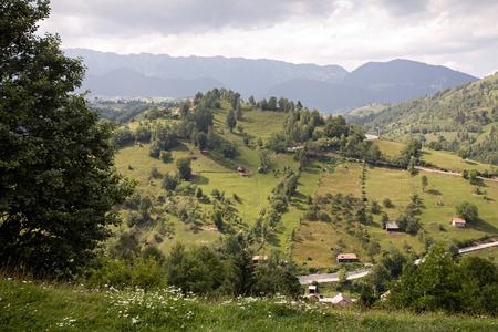 rumania: summer mountain beautiful rural landscape of Romanian Carpathians