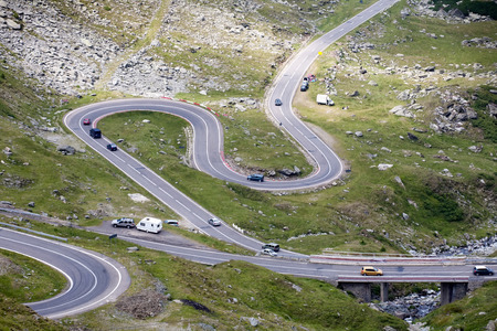 rumania: scenic top view of mountain serpentine road, Transfagarasan highway, Romania