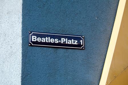 reeperbahn: Beatles square title on the wall, Reeperbahn street, Hamburg, Germany