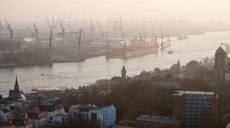 panoramic roof: aerial panoramic view of Elbe river and port in Hamburg, Germany Stock Photo