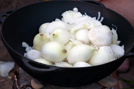 caldron: big caldron full of onions for soup cooking closeup Stock Photo