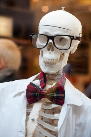 showpiece: stylish skeleton in jacket and bow tie with skull in glasses