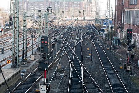 railroad station: top view on many railway tracks in Hamburg, Germany