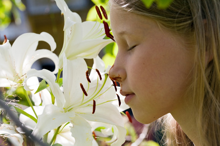 little caucasian girl smelling white lily flowers profile closeup photo
