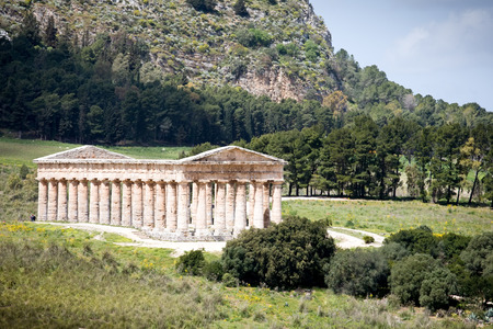 sicilian: summer landscape with ancient Roman temple of Venus, Segesta village, Sicily, Italy Stock Photo