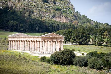 calatafimi: summer landscape with ancient Roman temple of Venus, Segesta village, Sicily, Italy Stock Photo