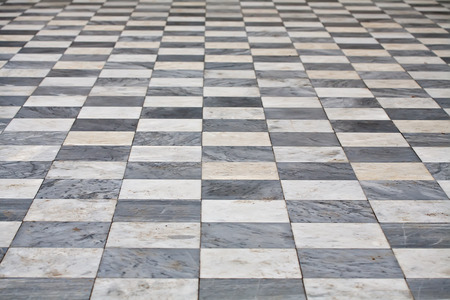 floor texture: marble black and white square floor pattern perspective view Stock Photo