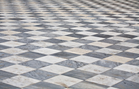marble black and white square floor pattern perspective view Stock Photo